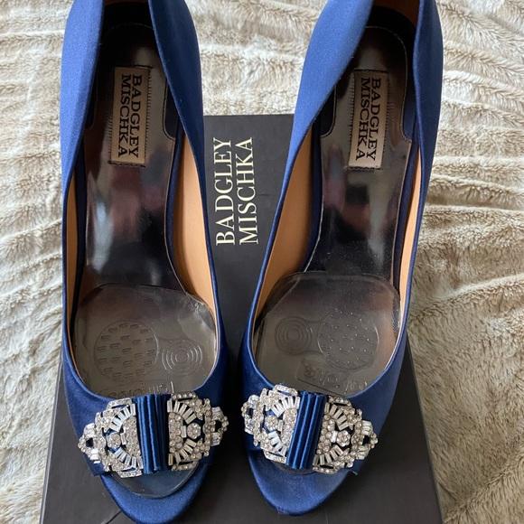 Badgley Mischka Davida Navy Blue Heels